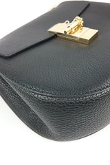 Black Grained Leather Drew Bag GHW