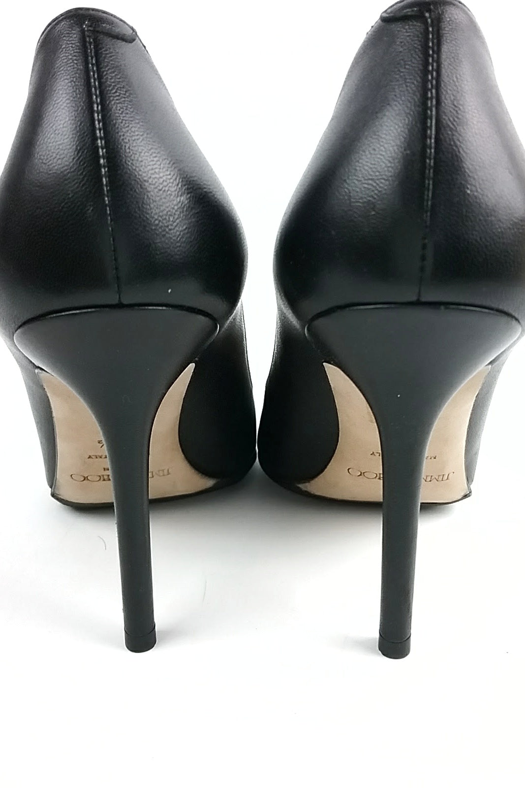 Black Leather Pointed Toe Pumps w/ Studs