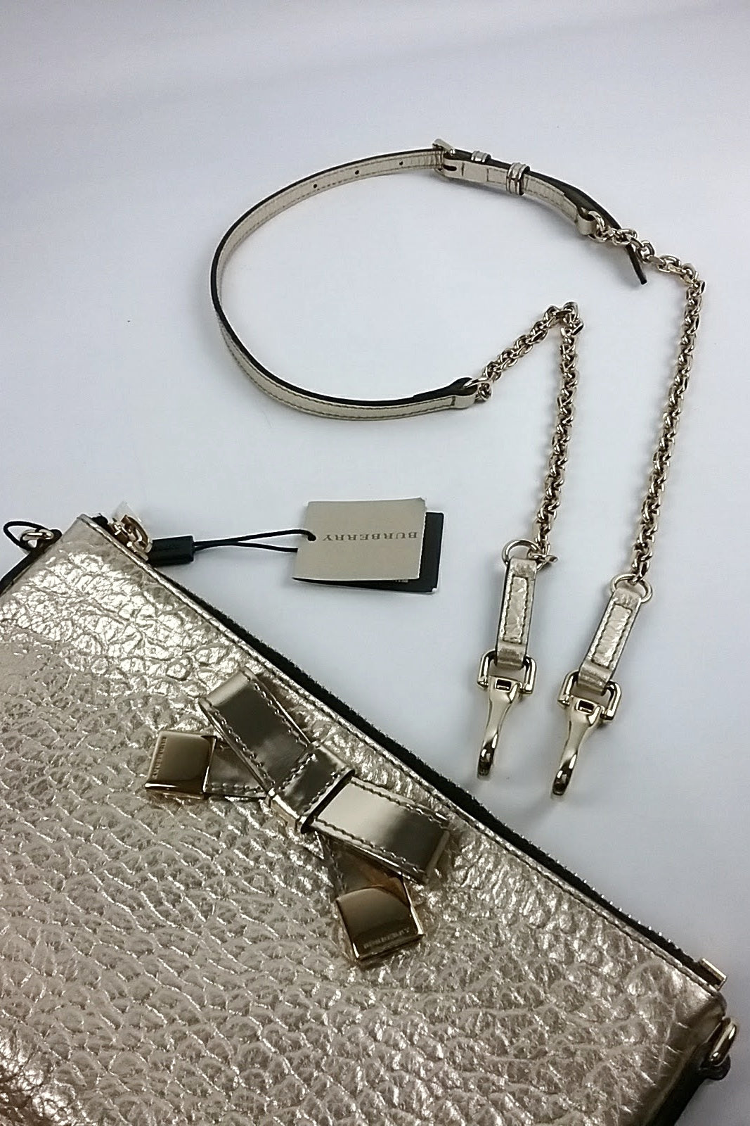 Metallic Gold Pouch On Chain