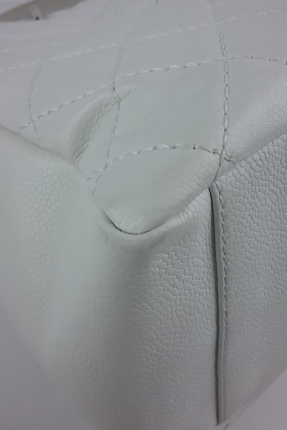 White Caviar Leather Grand Shopping Tote