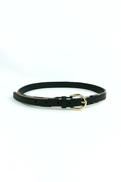 Black Pebbled Leather Belt with Smoke Check Trim - Haute Classics