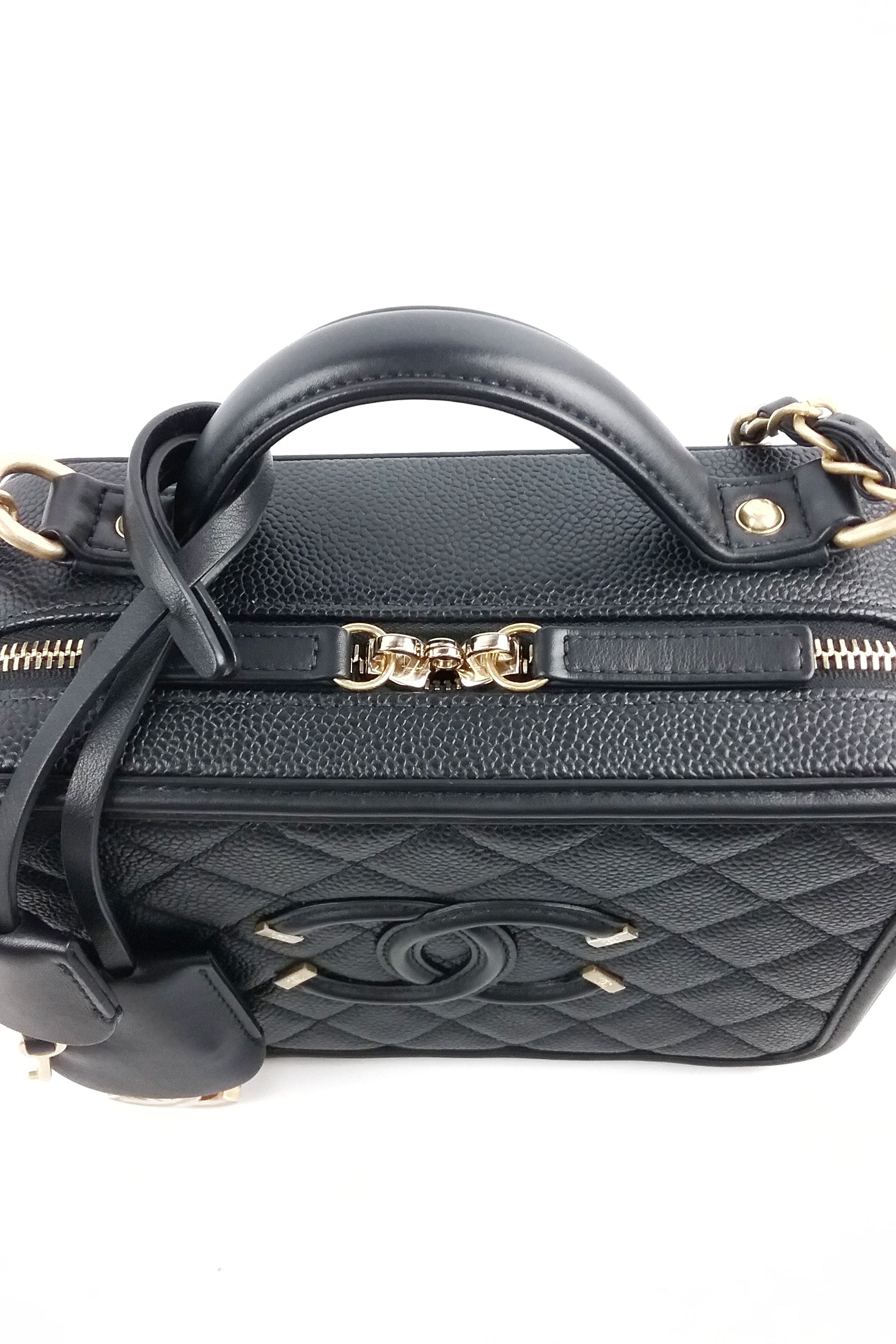 CC Black Caviar Medium Filigree Vanity Case Bag