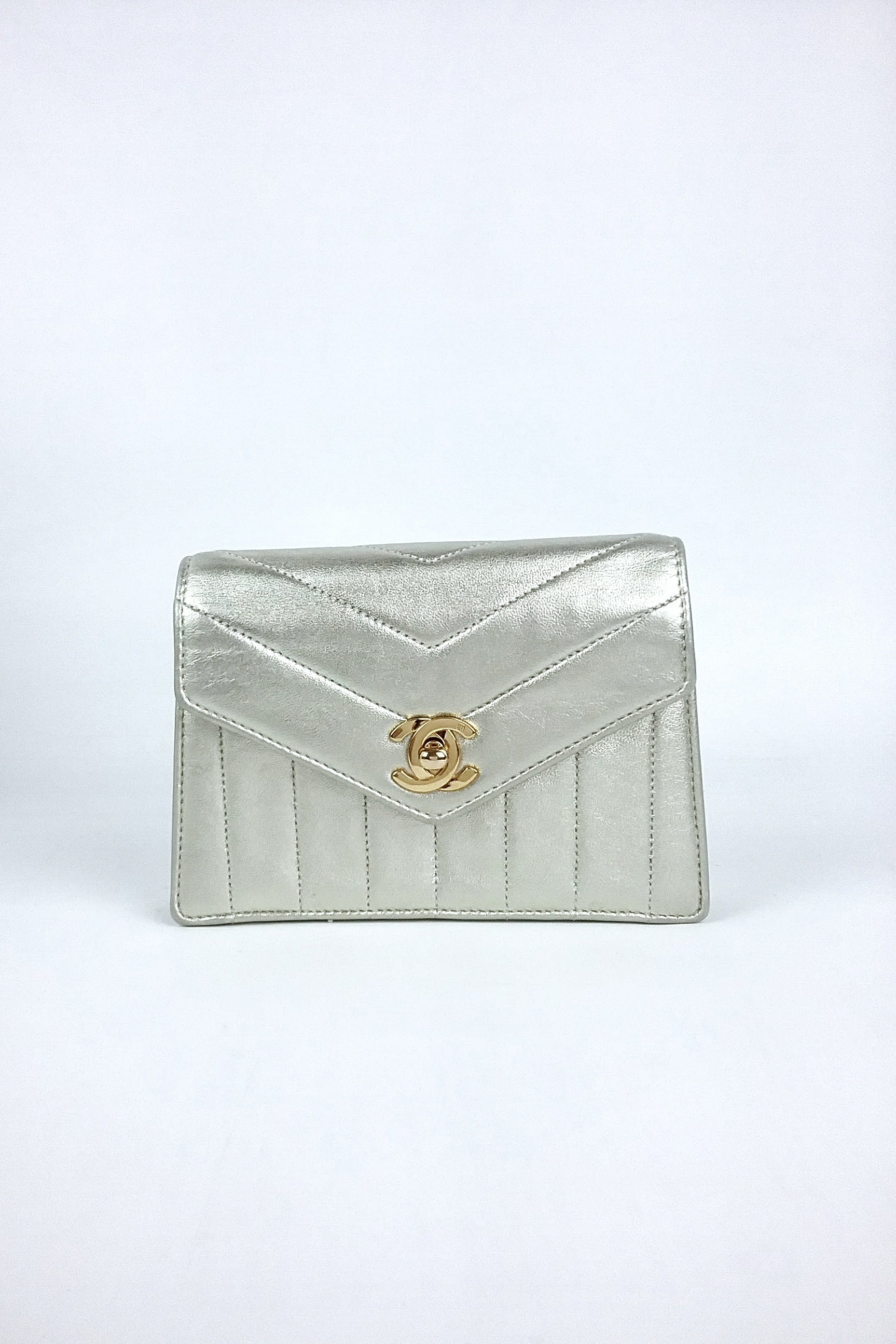 Metallic Light Gold Lambskin Mini Flap Bag