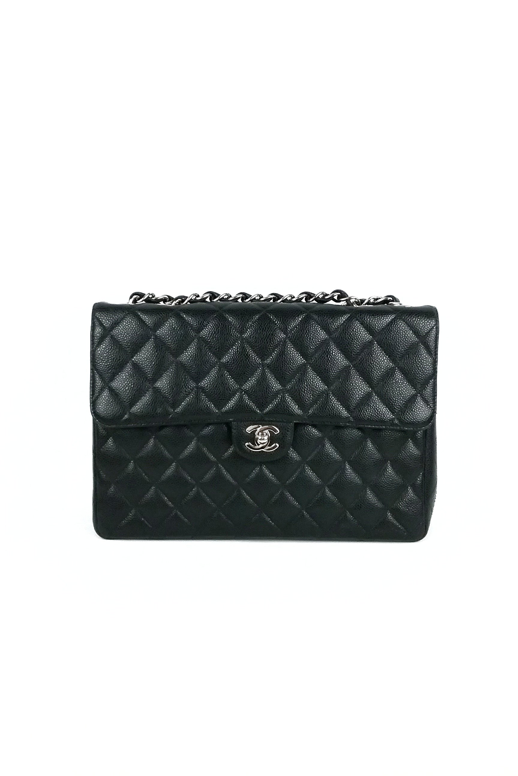 Black Caviar Jumbo Single Flap Bag - ON LAYAWAY