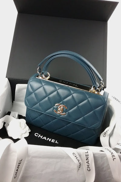 Small Blue Lambskin Quilted Trendy Bag w/ GHW - LAYAWAY