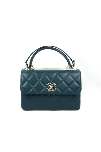 Small Blue Lambskin Quilted Trendy Bag w/ GHW