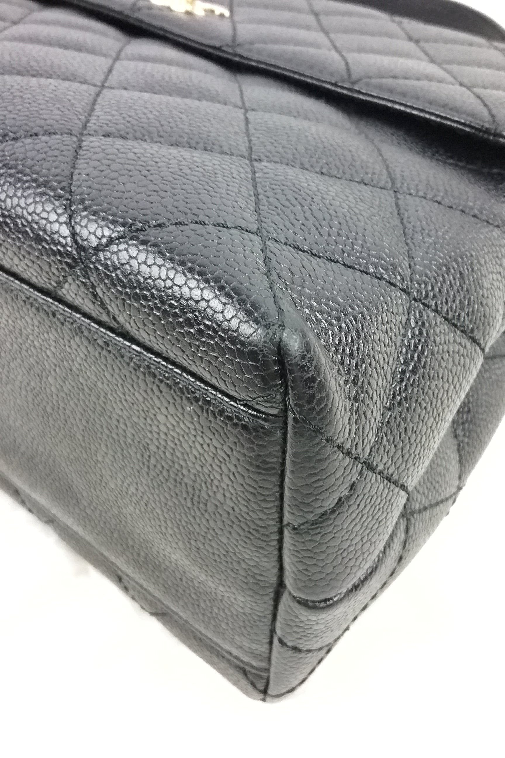 Black Caviar Quilted Vintage Kelly Tote SHW