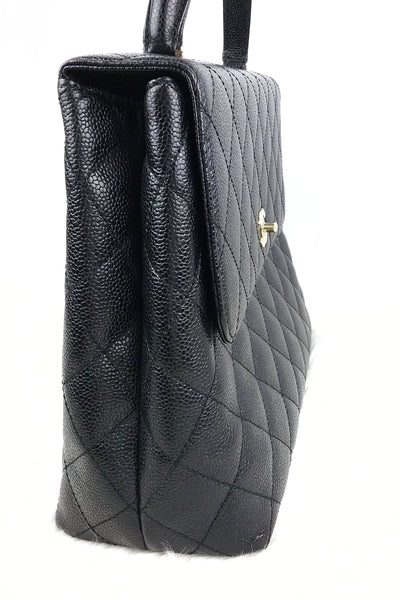 Black Caviar Quilted Vintage Kelly Tote SHW - Haute Classics