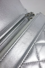 Metallic Silver Lambskin Quilted Classics WOC SHW