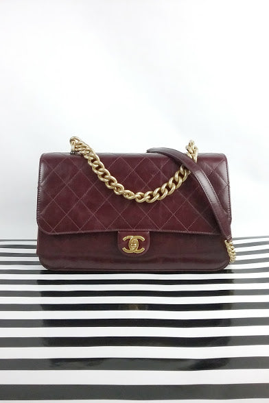 Burgundy Large Straight-Lined Flap Bag MGHW