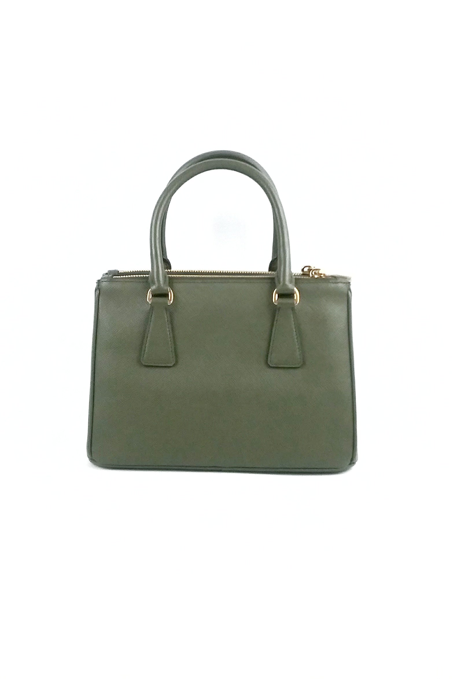 Military Green Saffiano Leather Small Galleria Tote