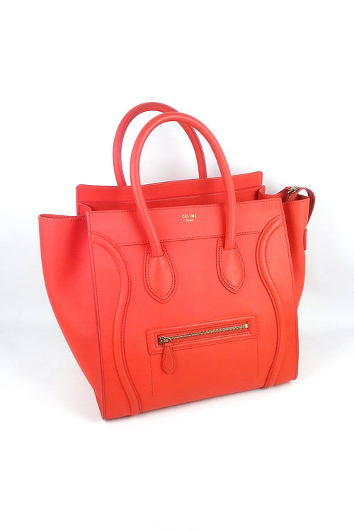 Orange Drummed Leather Mini Luggage Tote