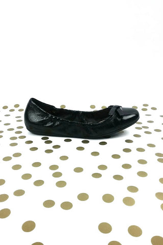 Black Leather Ballet Flats with Bow Detail