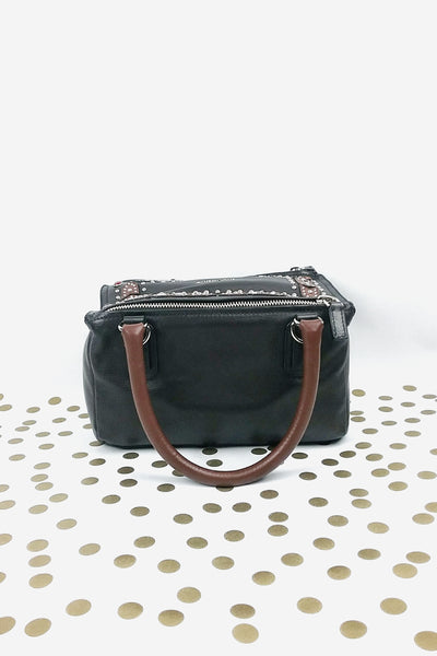 Black Leather Stud Embellished Small Pandora Bag w/ Strap - Haute Classics
