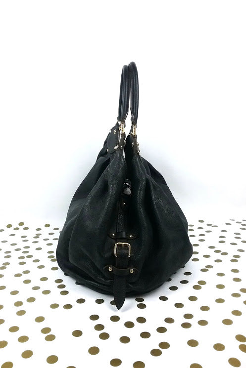 Black Mahina XL Leather Bag - Haute Classics