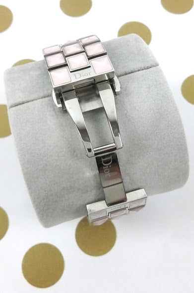 Pink Christal Watch With Diamonds