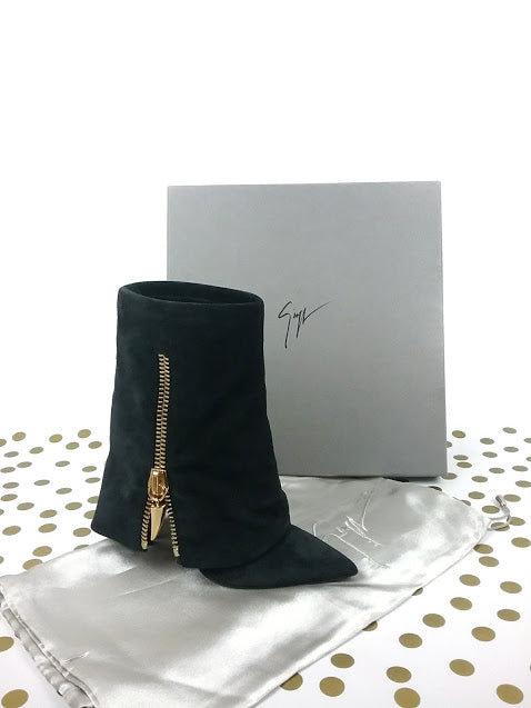 Black Suede Pointed-Toe Fold-Over Ankle Boots - Haute Classics