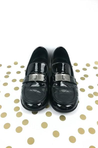 Black Patent Leather Loafers w/ Mademoiselle Turnlock Detail