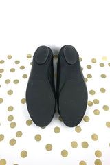 Black Leather Arena Flats W/ Metal Embellishment