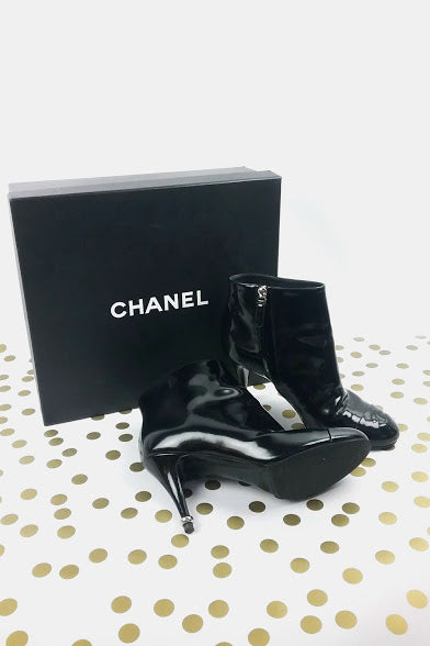 Black Patent Leather Ankle Booties w/ Metal Heel Details