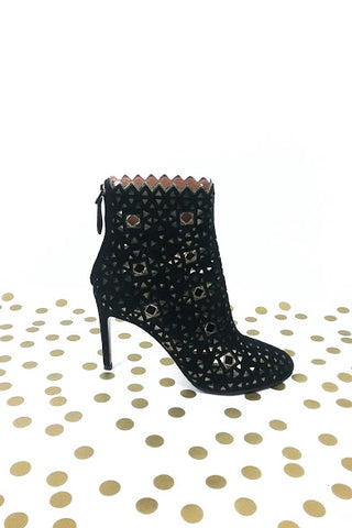 Black Suede Ankle Boots W/ Metallic Cut-Out Detail