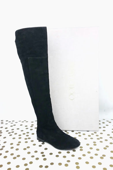 Mitty Black Suede Over-The-Knee Flat Boots