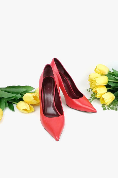 Coral Red Leather Pointed Toe Pumps