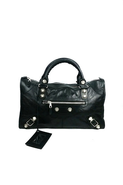 Black Agneau Leather Work Tote Bag
