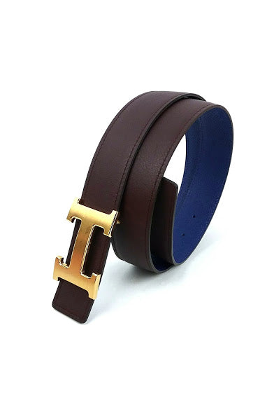 Marron Boxcalf/Bleu Electrique Epsom 32 mm Reversible H Belt with GHW