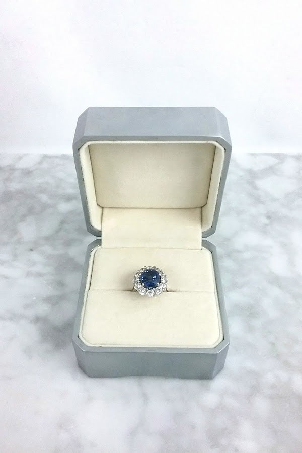 Oval Sapphire Forever One Princess Diana Setting Ring