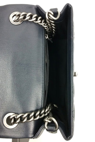 Navy Goatskin Small City Rock Flap Bag