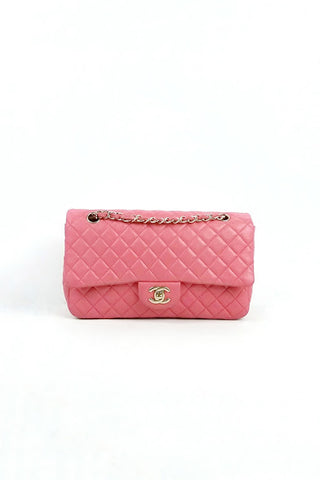 Pink Lambskin Quilted Medium Valentine Hearts Flap Bag