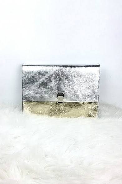 Large Metallic Gold & Silver Lunch Clutch