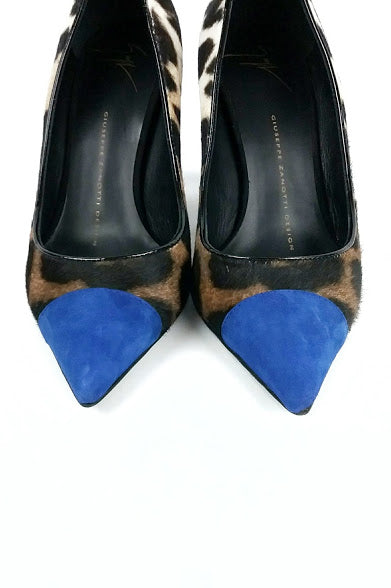 Leopard Print Ponyhair with Blue Suede Toe Cap Pumps