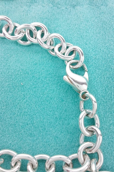 Sterling Silver Round Tag on Chain Bracelet