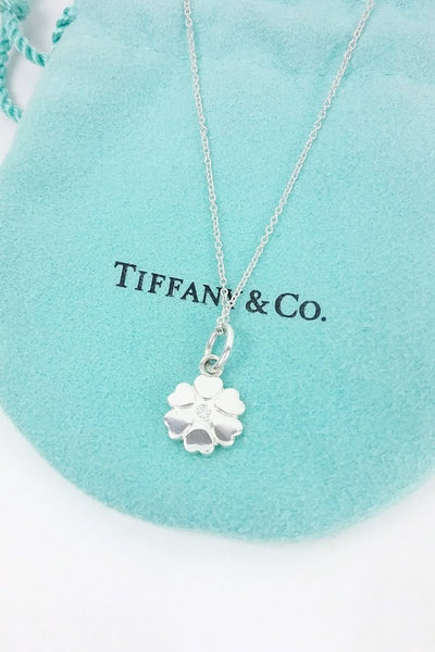 Sterling Silver Flower & Diamond Pendant on Chain