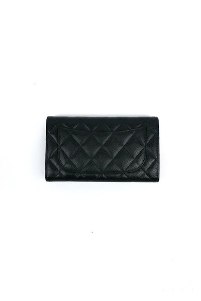 Black Caviar Quilted Large L-Flap Wallet - Haute Classics