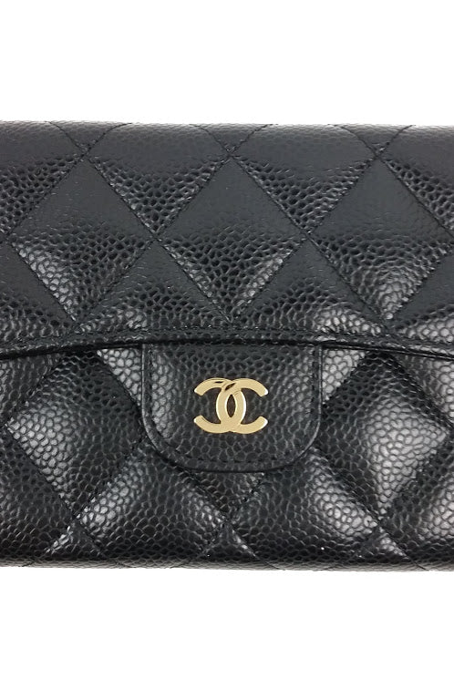Black Caviar Quilted Large L-Flap Wallet