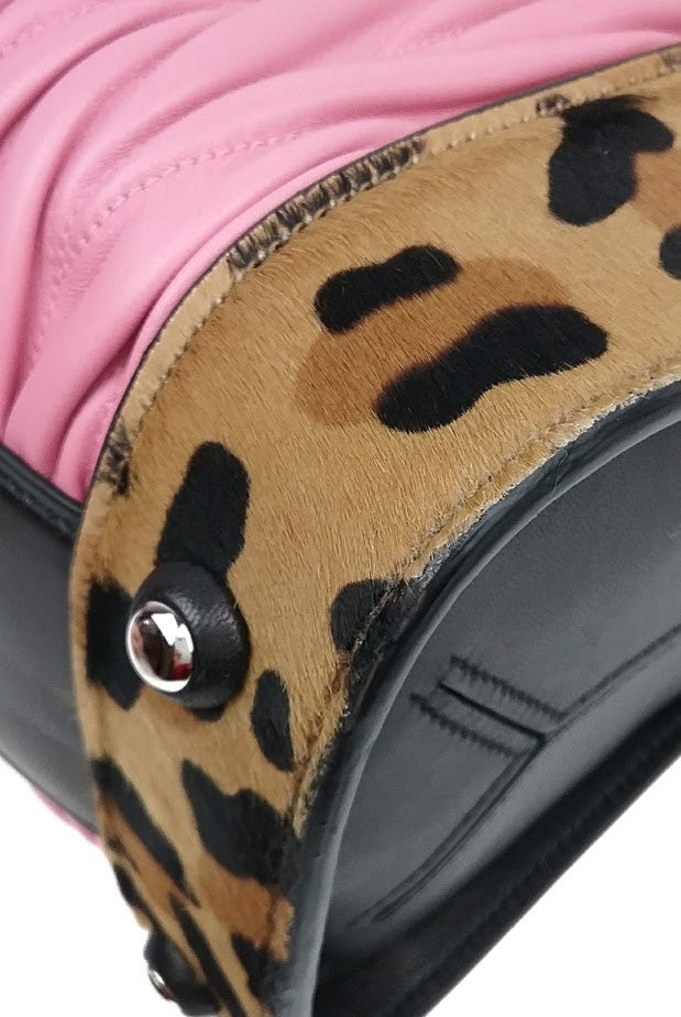 Pink Matelasse Leather Tote w/ Leopard Ponyhair Accent