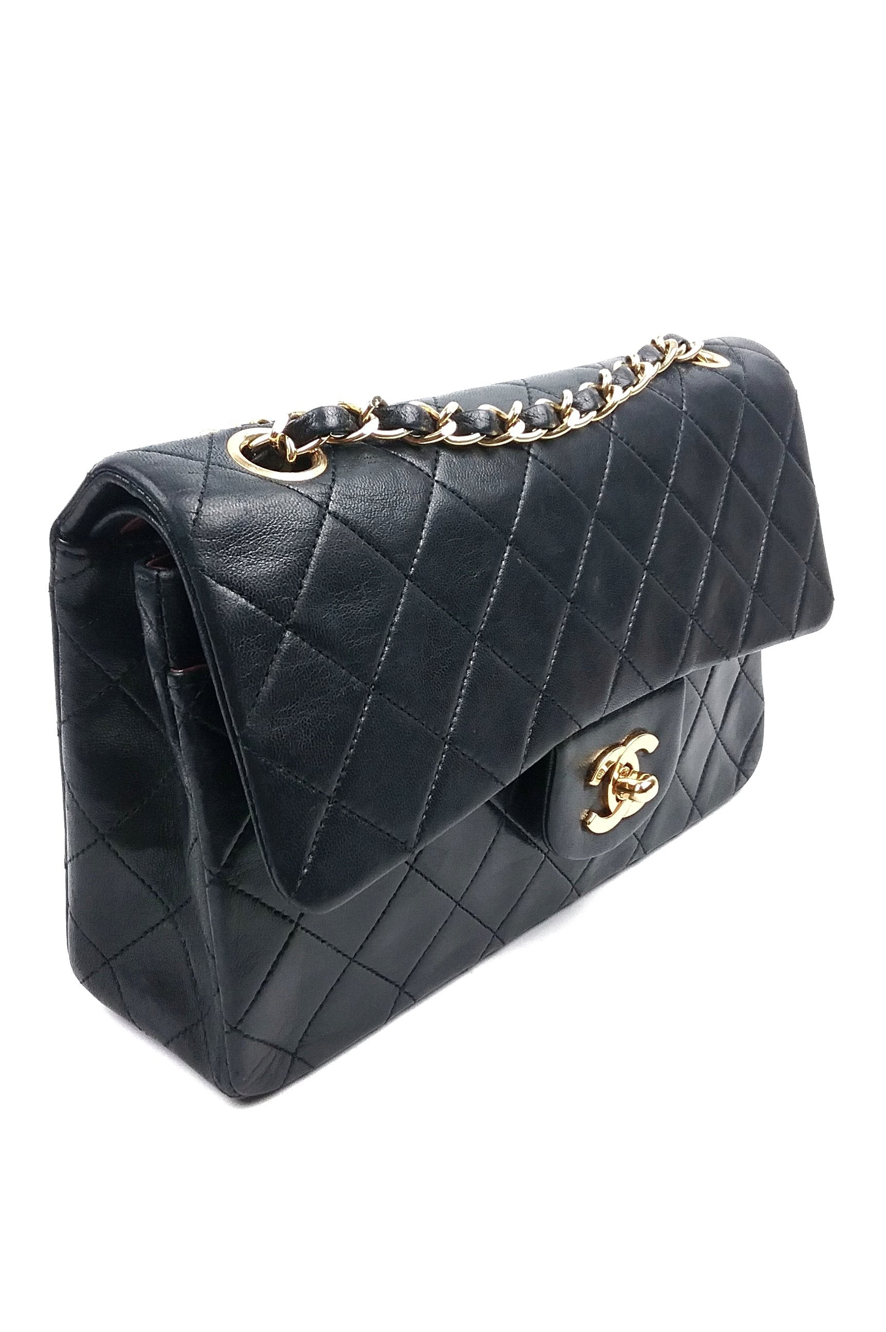 "Black Lambskin Quilted Vintage 9"" Double Flap GHW"