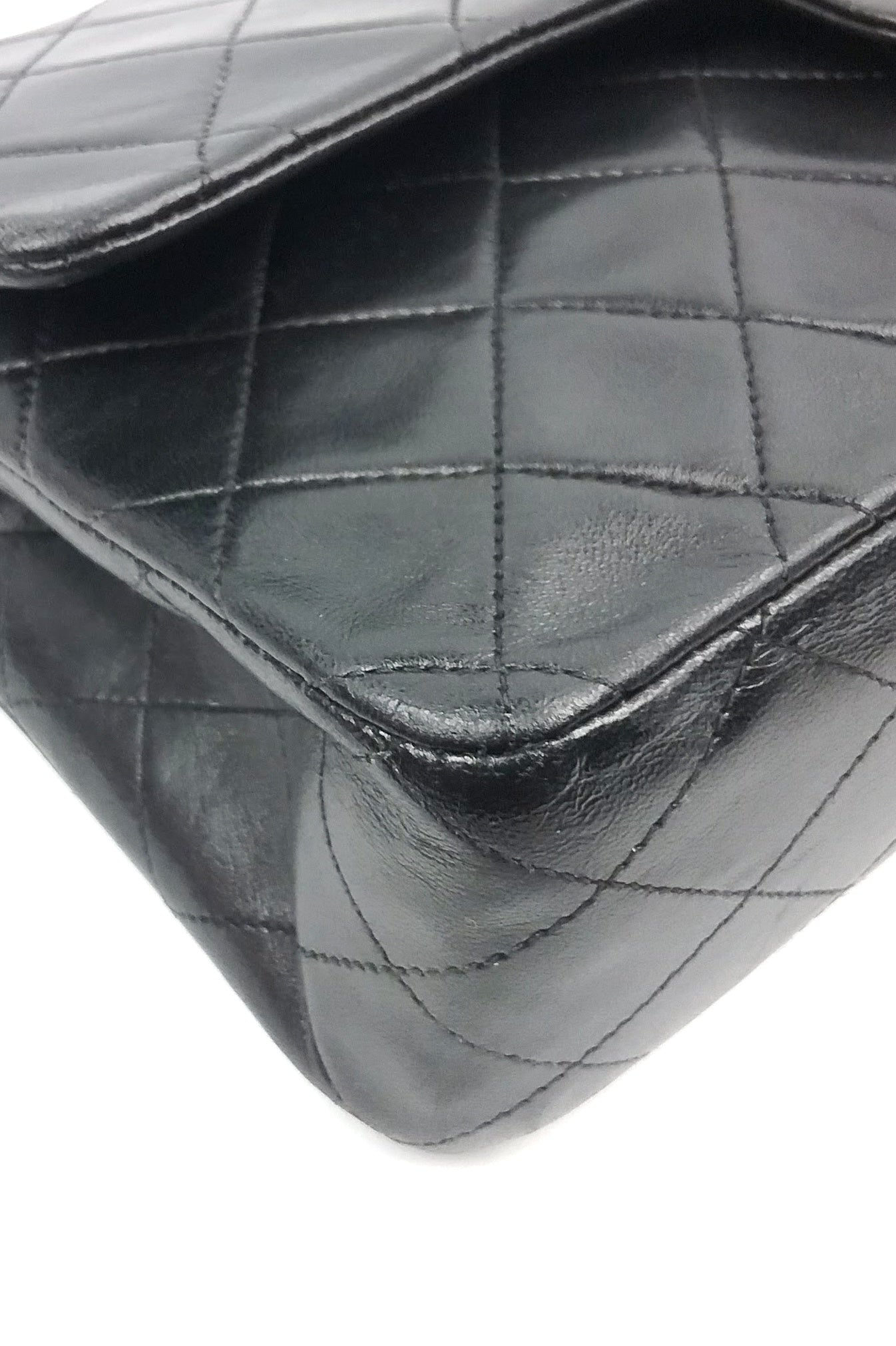 "Black Quilted Lambskin vintage 10"" Double Flap GHW"