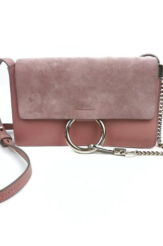 Blush Pink Leather/Suede Small Faye Crossbody Bag