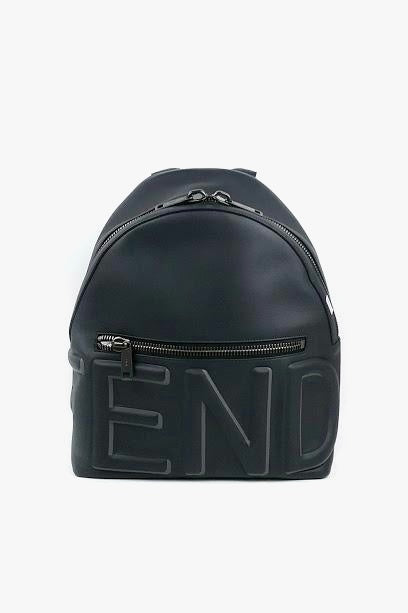 Navy Leather Embossed Logo Backpack