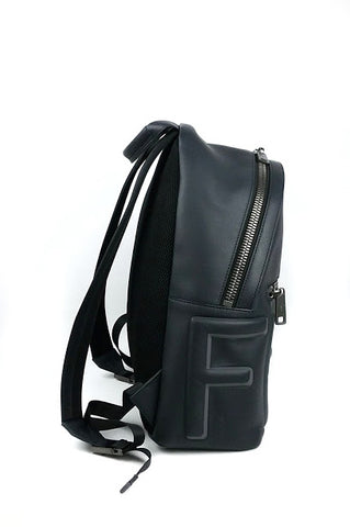 Navy Leather Mebossed Logo Backpack