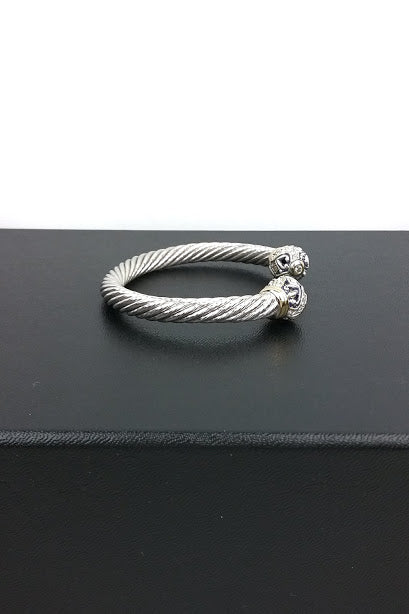 Sterling Silver Cable 7mm Bracelet w/ Gold and Pave Diamond Detail
