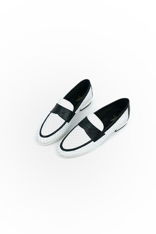 White Woven Loafers w/ Black Accents