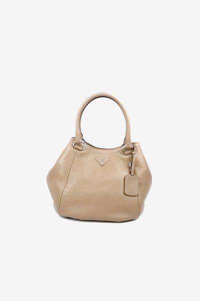 Tan Vitello Daino Tote w/ Strap