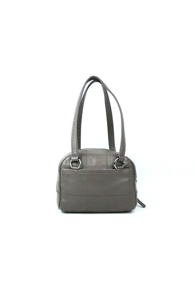 Dark Grey Caviar Square Quilted Leather Bowler Bag
