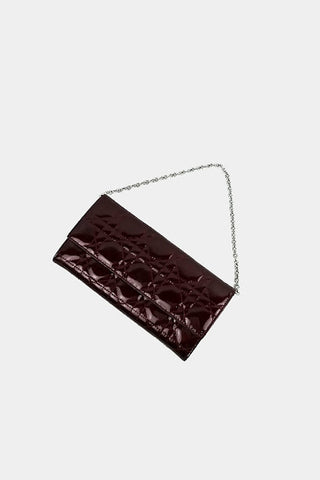 Burgundy Patent Cannage Lady Dior Rendezvous Wallet w/ Chain