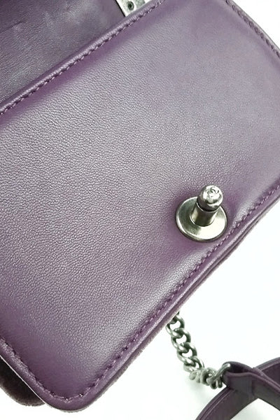 Purple Velvet Mini Boy Bag